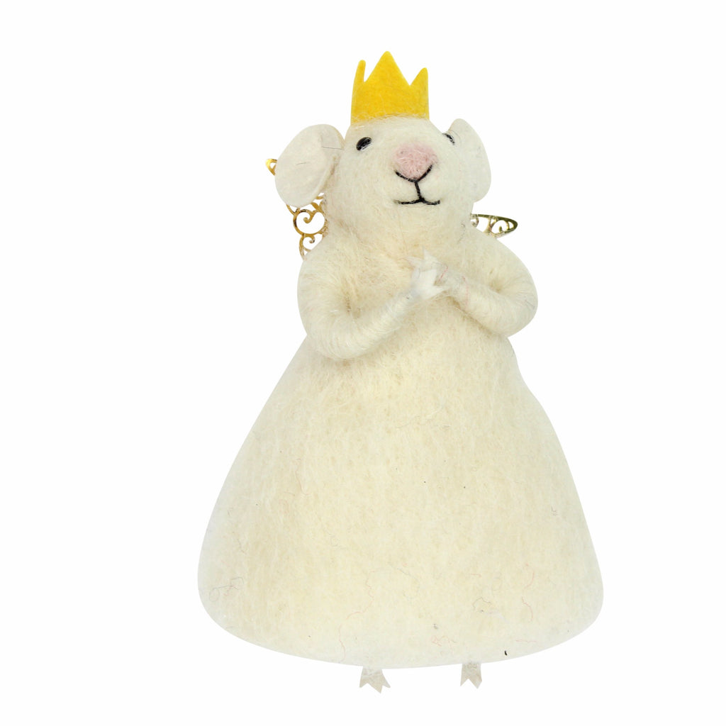 Felted Wool White Princess Mouse Christmas Tree Decoration - La Di Da Interiors