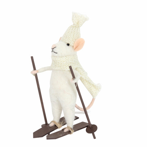 Wool felt White Mouse on Skis