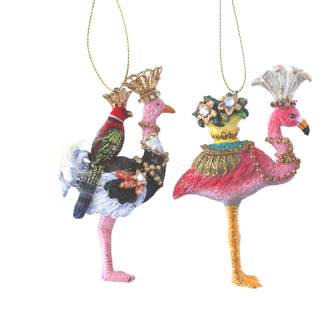Ostrich & Flamingo Christmas Tree Hanging Decorations