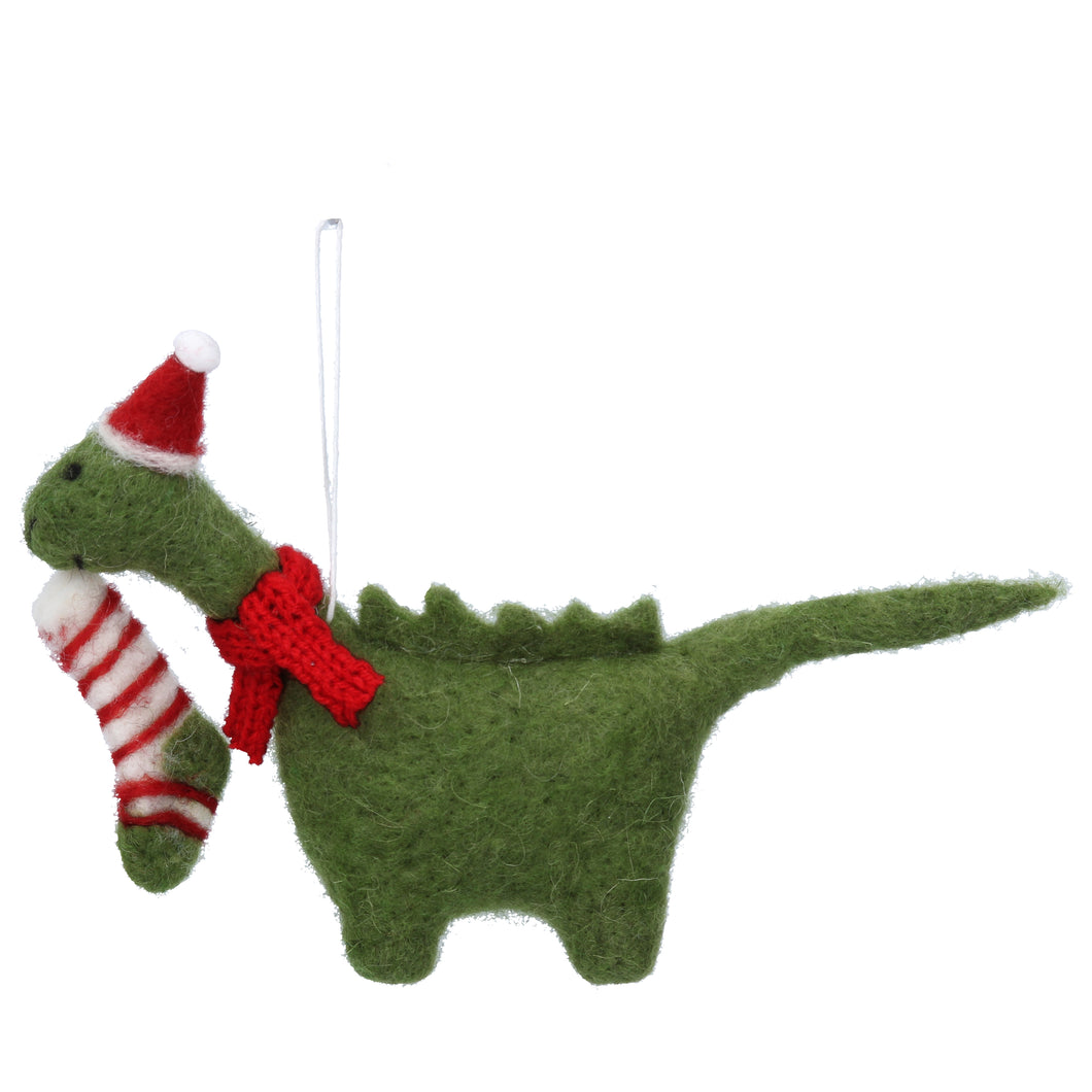 Dippy the Dinosaur Felt Wool Christmas Tree Decoration - La Di Da Interiors