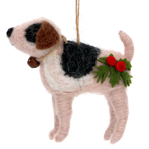 Harry the Dog with Holly & Bell Felt Christmas Tree Decoration