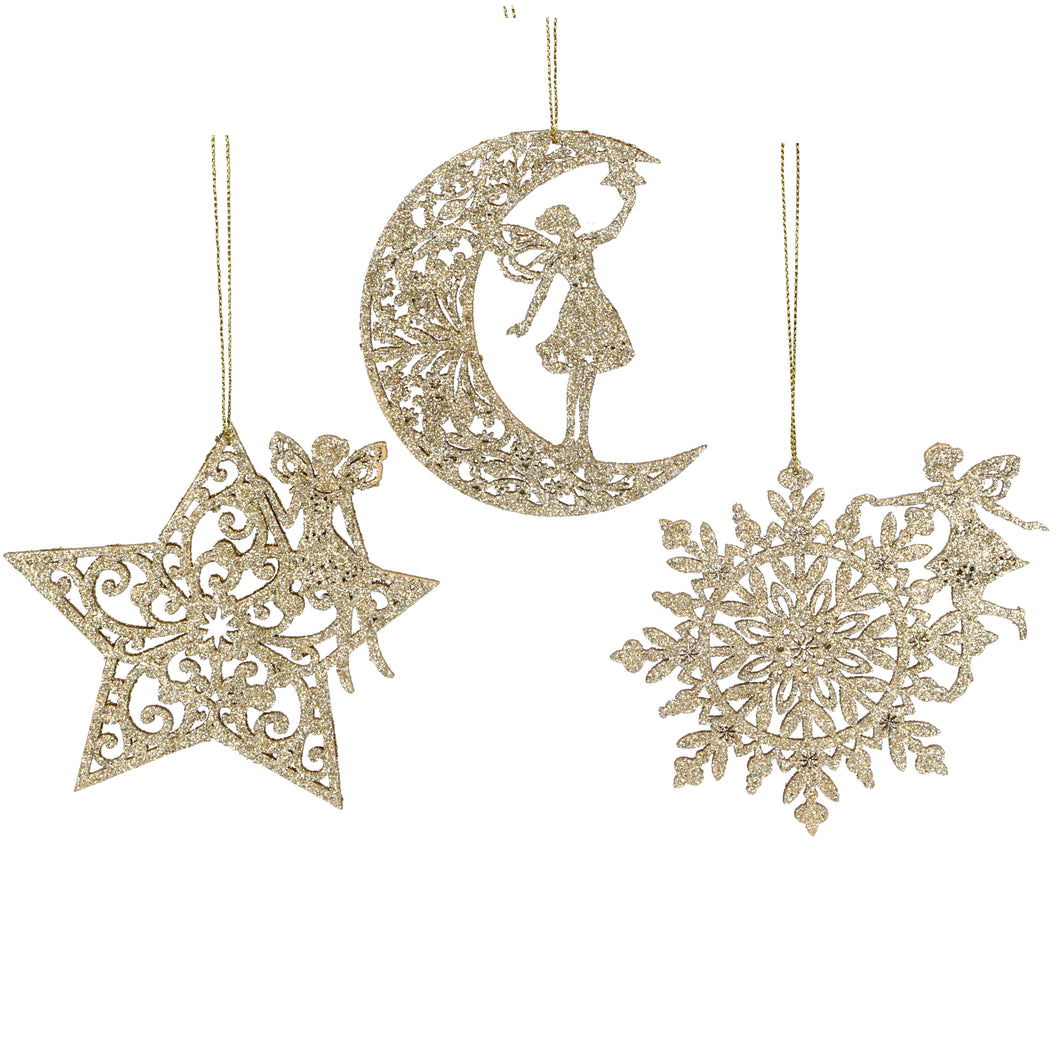 Gold Fairy and Star, Moon, Snowflake by Gisela Graham