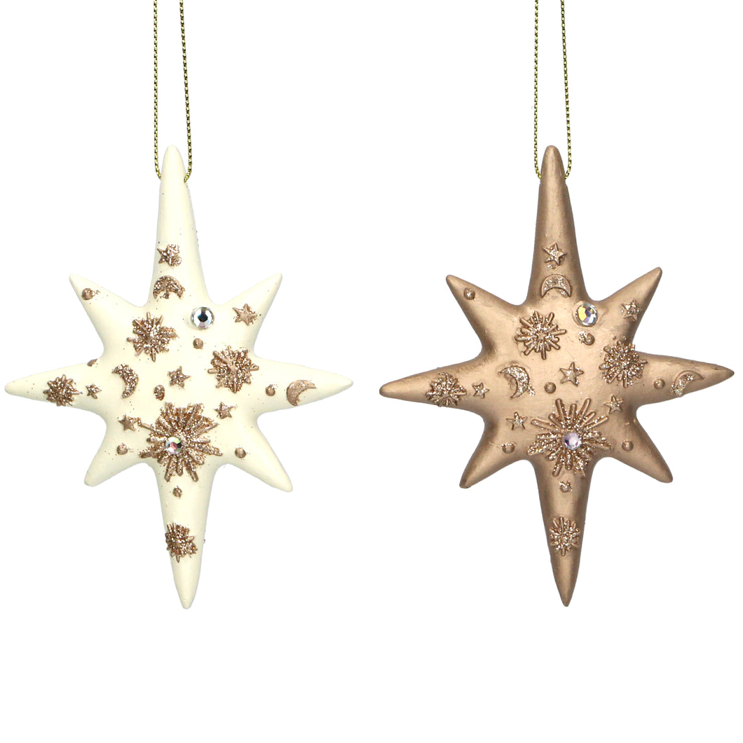 Celestial Stars Cream and Gold Christmas Tree Decorations