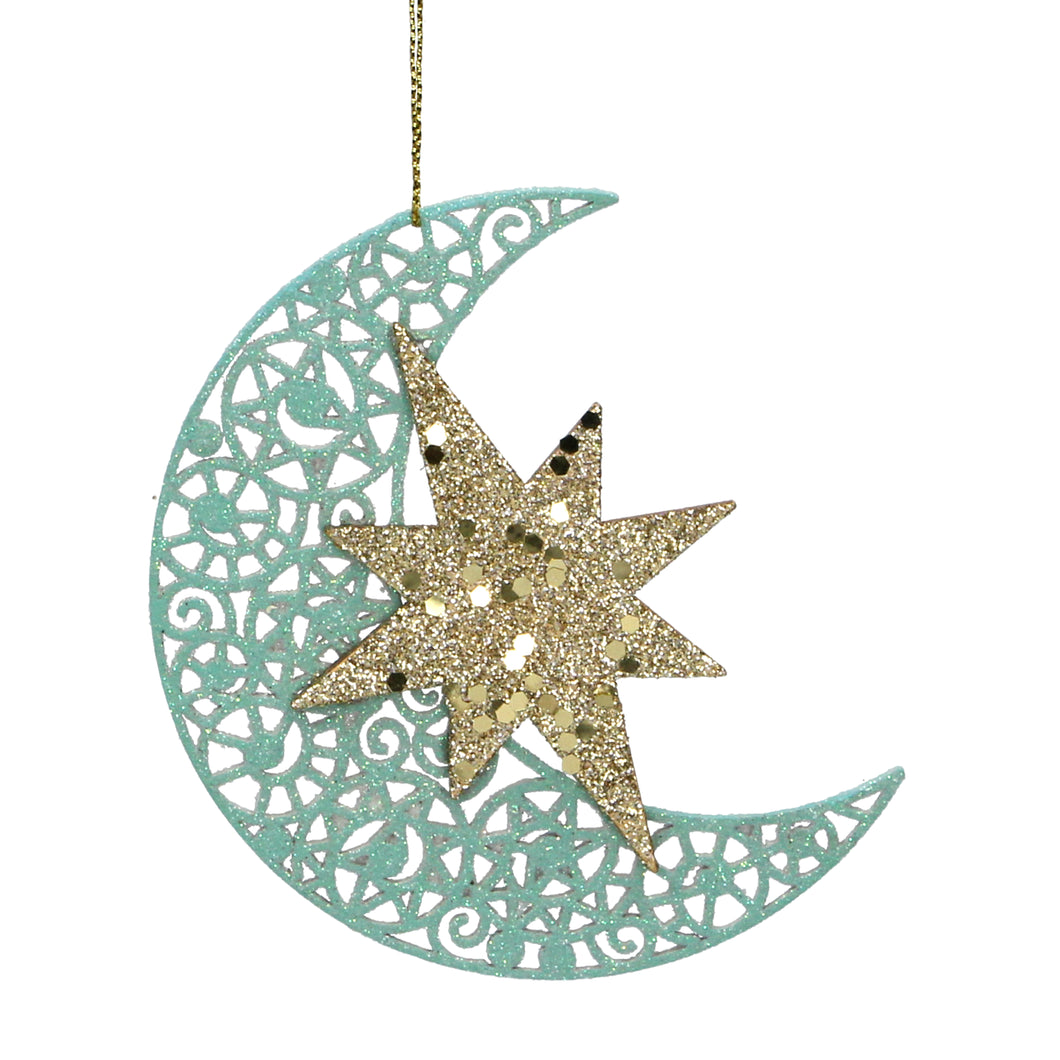 Moon & Star Turquoise & Gold Christmas Tree Decoration