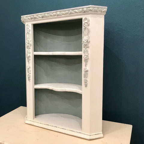 Pretty Corner Shelf Unit in Old White & Duck Egg SOLD