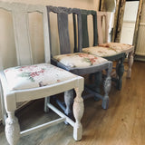 Faded Roses Upcycled vintage set of 4 chairs SOLD - La Di Da Interiors