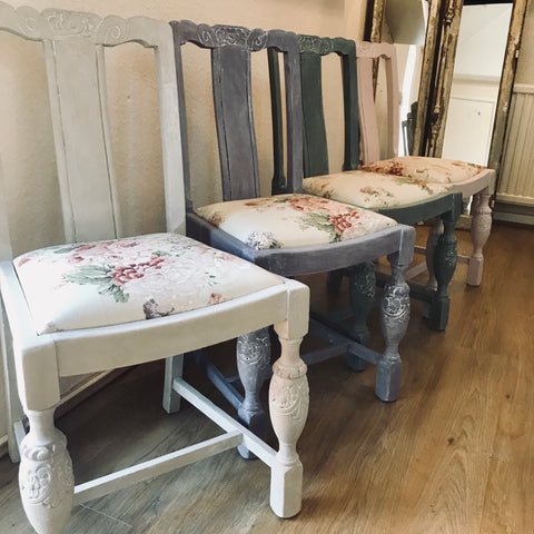 Faded Roses Upcycled vintage set of 4 chairs