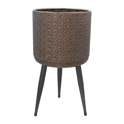 Standing Plant Pot Cover Bronzed Metal