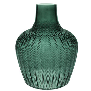 Green Ribbed Extra Large Glass Vase - La Di Da Interiors