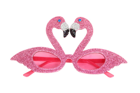 Pink Flamingo Glitter Glasses