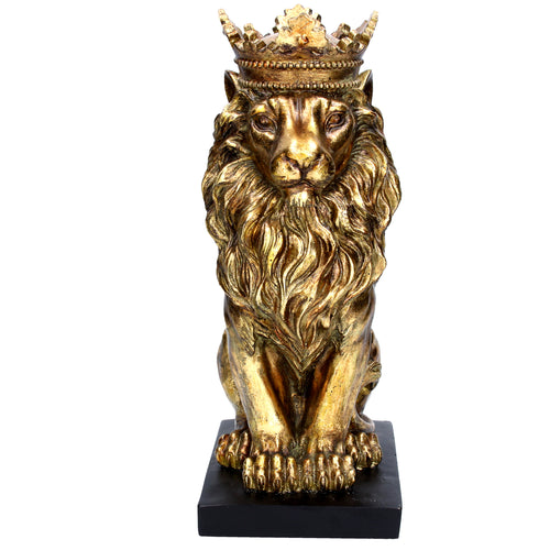 Gold Resin Lion Sitting Ornament - La Di Da Interiors