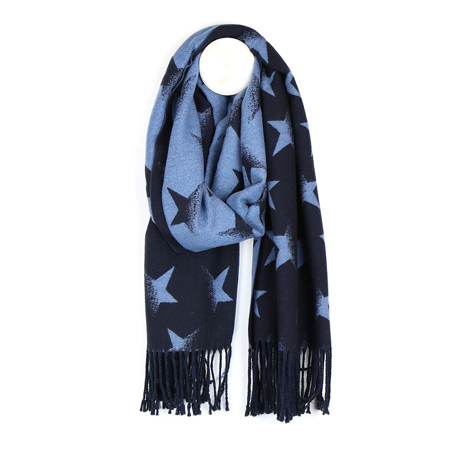 Navy & Blue Reversible Star Scarf