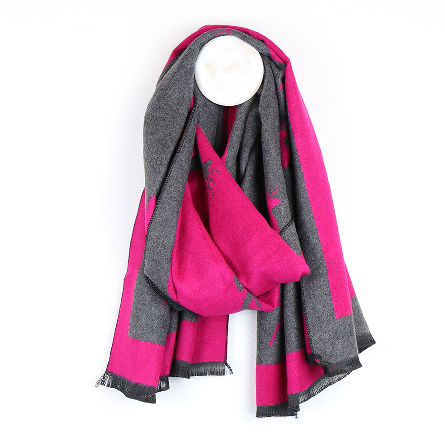 pink and grey stag scarf