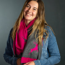 Load image into Gallery viewer, Pink & Grey Reversible Stag Scarf