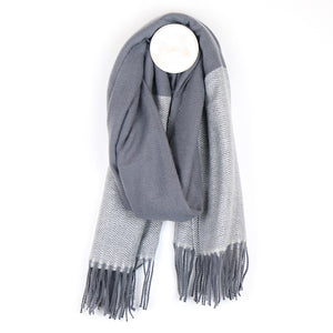 Grey Herringbone Soft Scarf
