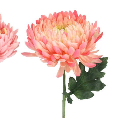 Coral Pink Faux Chrysanthemum Flower Stem