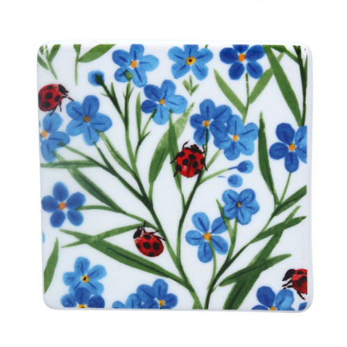 Forget me not and ladybird coaster