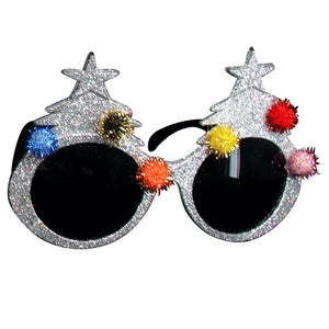 Silver Glitter Xmas Tree Glasses