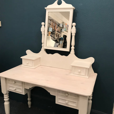 Serena - console dressing table with mirror in old white SOLD