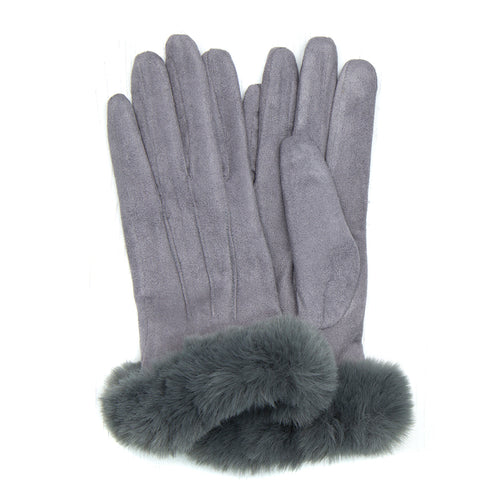 Grey Faux fur winter gloves