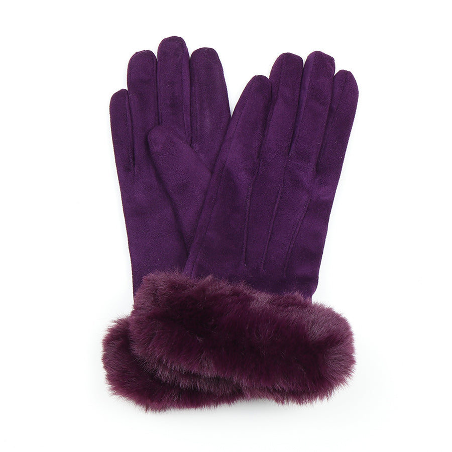Plum faux fur ladies gloves