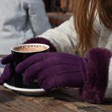 Load image into Gallery viewer, Plum Faux Suede Gloves with Faux Fur