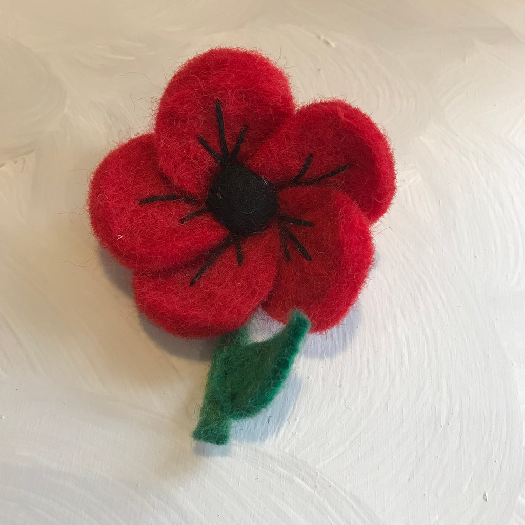 Fair trade Felt Red Poppy Brooch - La Di Da Interiors