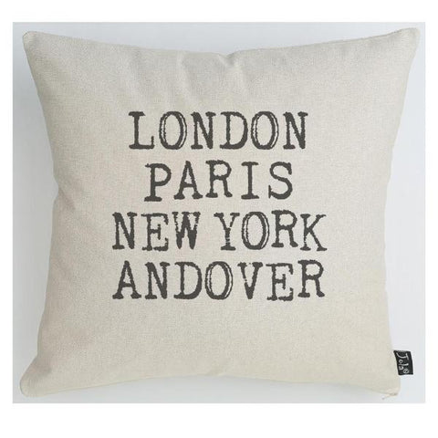 London, Paris, New York, Andover Linen Cushion