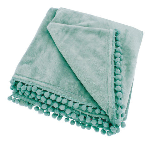 Pom Pom Fleece Throw in Bleu De Mer