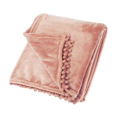 Pom Pom Fleece Throw in Blush Pink