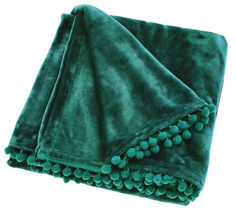 Pom Pom Fleece Throw in Emerald Green