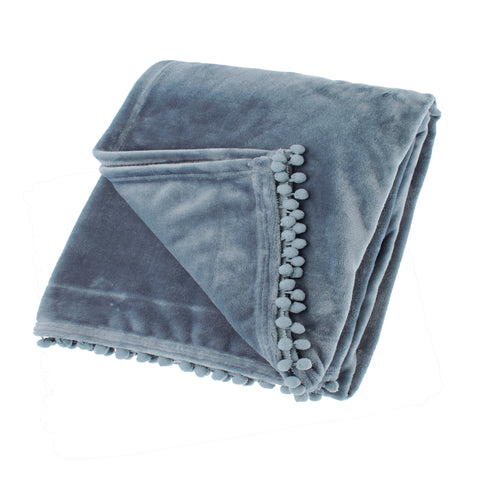 Pom Pom Fleece Throw in Smoke Blue