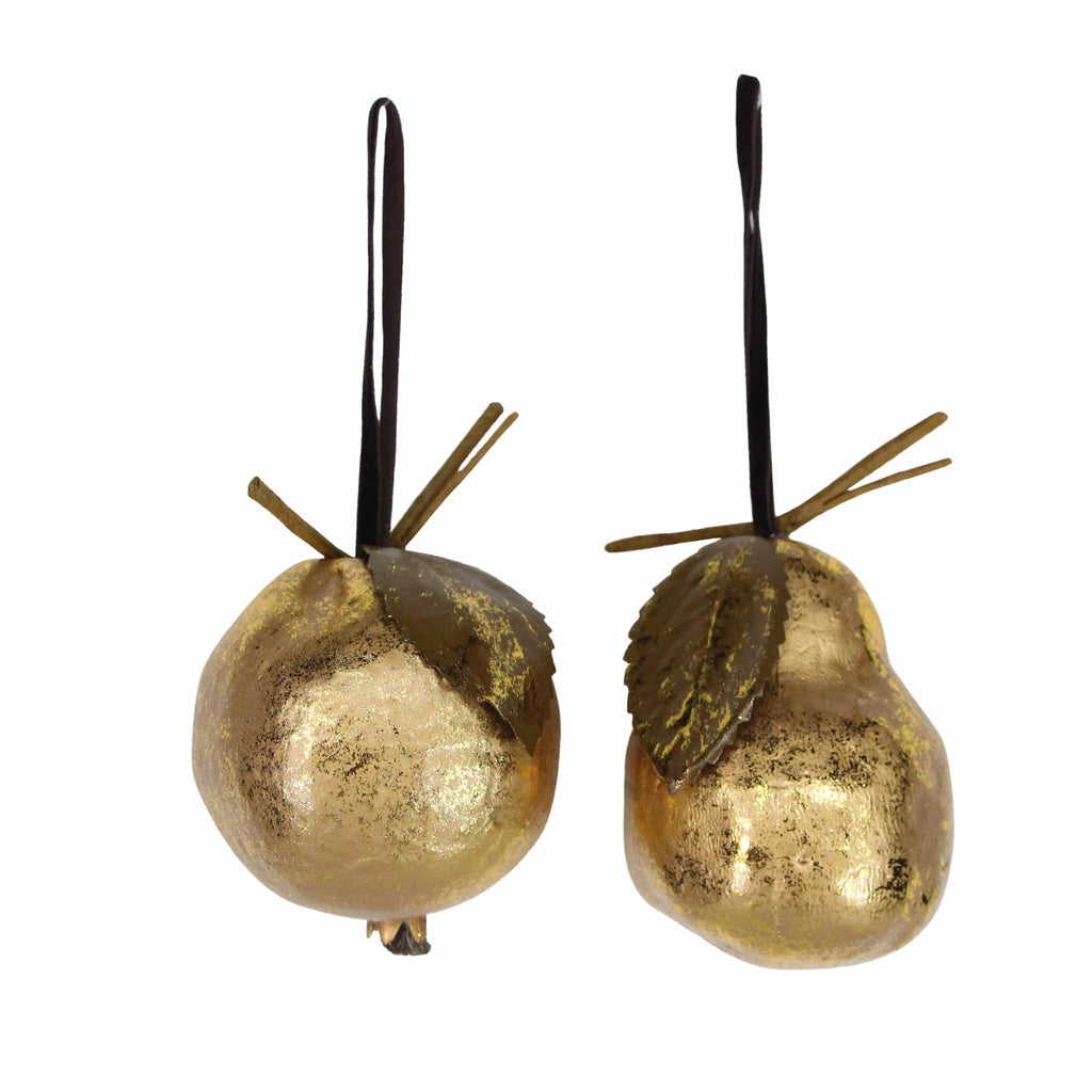Antique Gold Pear & Pomegranate Christmas Tree Decorations