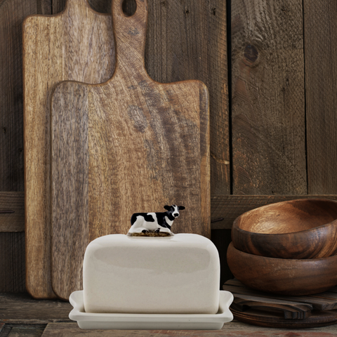 Quail ceramic butter dish - cow, fox or pheasant