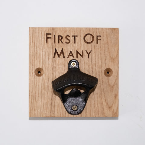 First of Many Oak Bottle Opener Wall Mounted