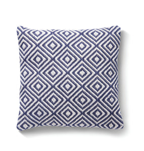 Recycled Woven Diamond Cushion in Classic Navy Blue