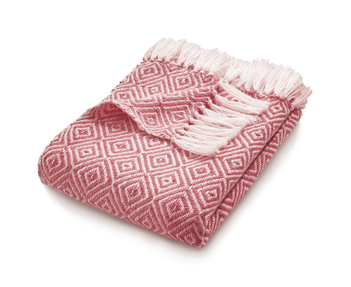 Coral Pink Diamond Woven Throw by Hug Rugs