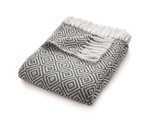 Warm Grey Diamond Weave Throw by Hug Rug