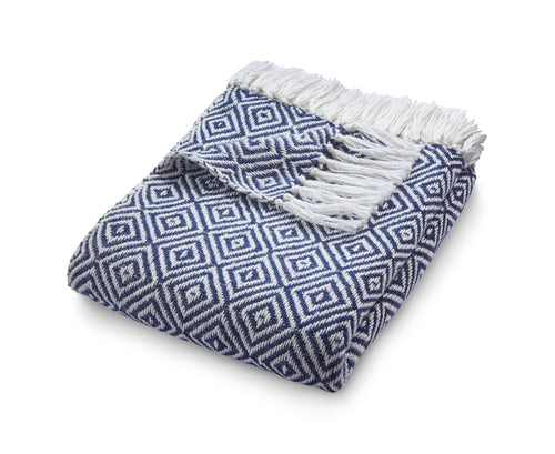 Navy & White Diamond Throw by Hug Rug