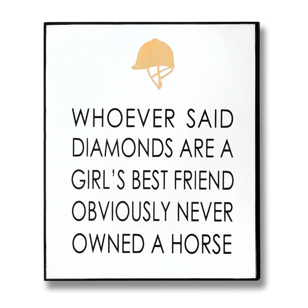 Whoever said diamonds are a girl's best friend... sign