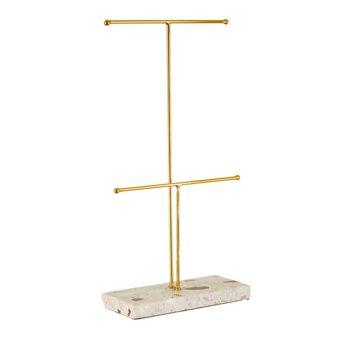 Terrazzo & Gold Double Jewellery Stand