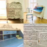 Heritage - carved oak painted bureau SOLD - La Di Da Interiors