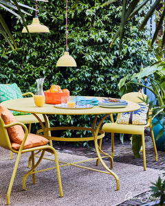 English Yellow Chalk Painted Outdoor Furniture