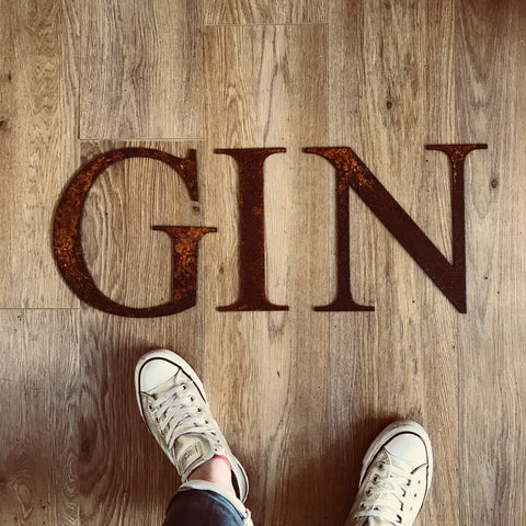 Large Rusty Letters, GIN, BAR, LOVE sign