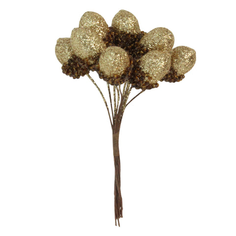 Glitter Acorn Bunch, Gold or Silver