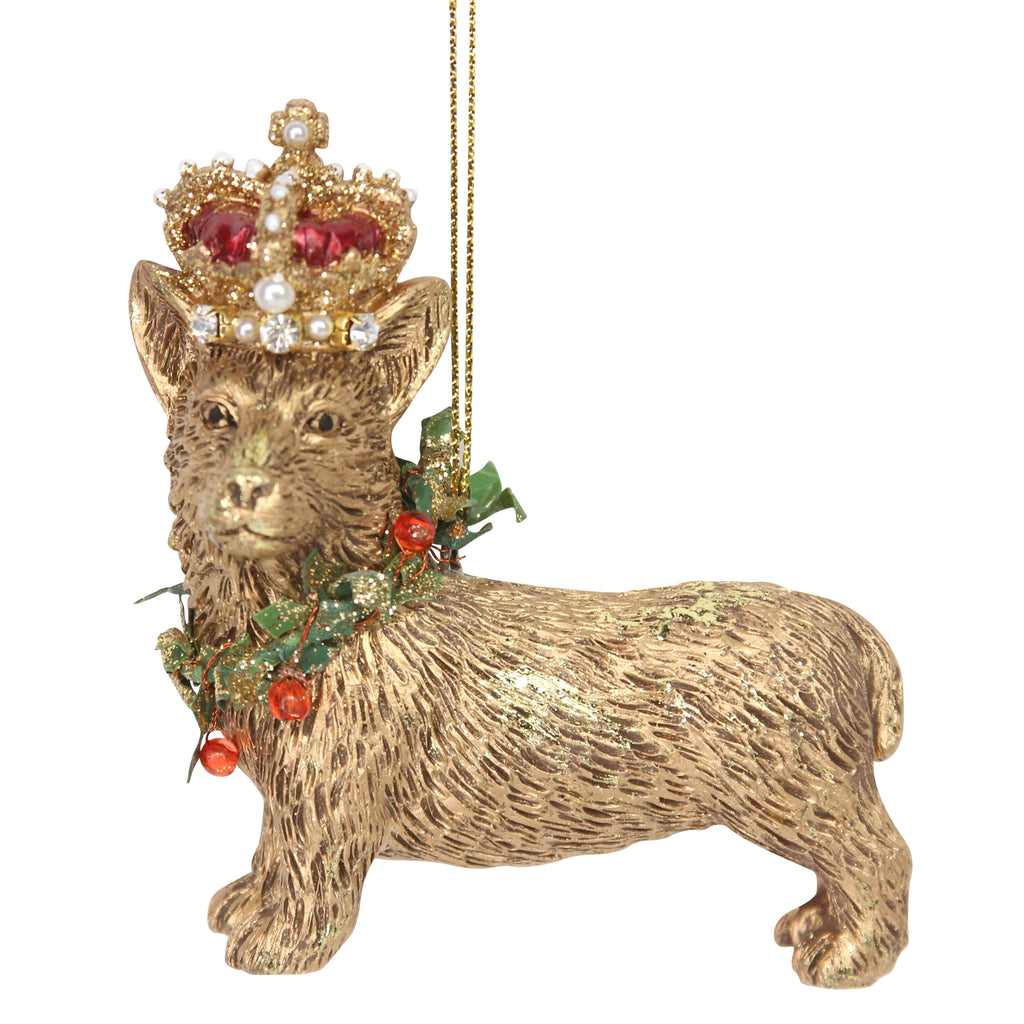 Gold Corgi with Crown Christmas Tree Decoration - La Di Da Interiors