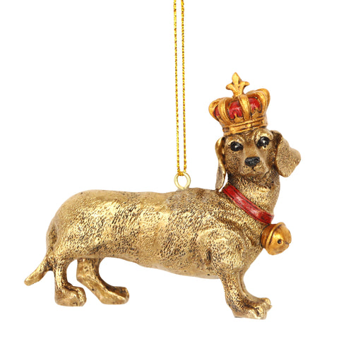 Gold Dachshund with Crown Christmas Tree Decoration