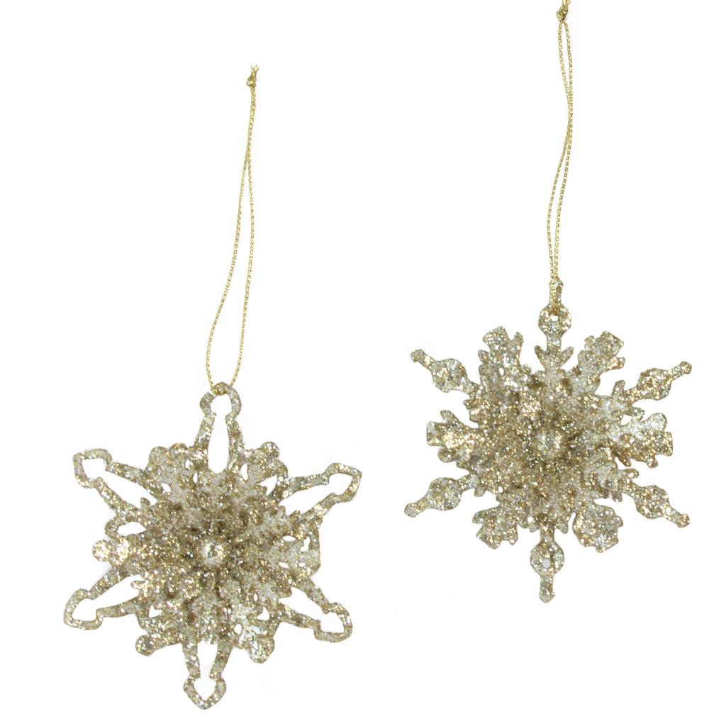 Gold Glitter 3D Snowflake Christmas Tree Decorations - La Di Da Interiors