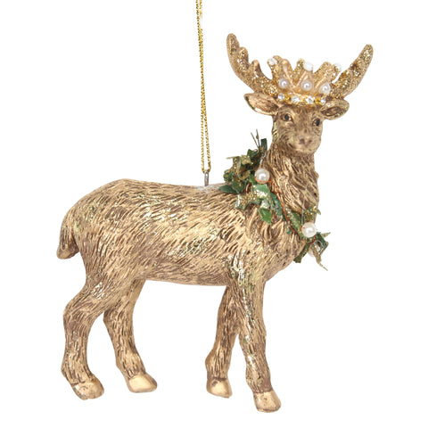 Gold Stag with Crown Christmas Tree Decoration