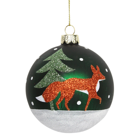 Painted Glass Fox Bauble